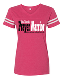 This Mom is a Prayer Warrior V-Neck Tee - S / Vintage Hot Pink - Christian T-Shirt | Christian Gifts | Christian Apparel - 3