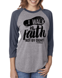 Walk by Faith Three-Quarter Sleeve Baseball Raglan - Small / Vintage Navy/Heather - Christian T-Shirt | Christian Gifts | Christian Apparel - 2