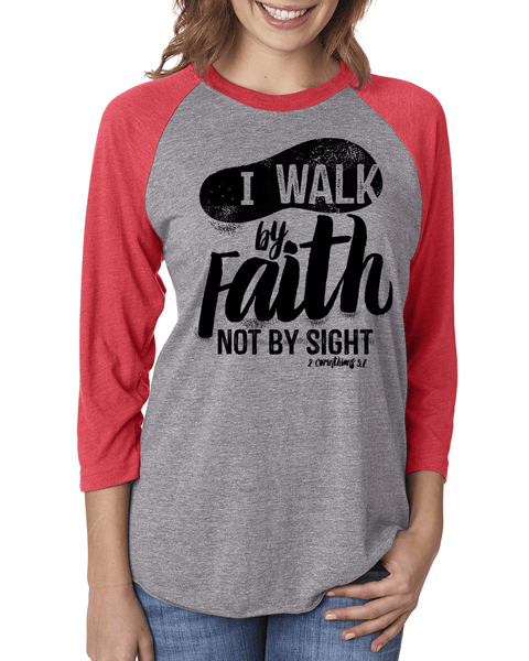Walk by Faith Three-Quarter Sleeve Baseball Raglan - Small / Vintage Red/Heather - Christian T-Shirt | Christian Gifts | Christian Apparel - 3