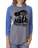 Walk by Faith Three-Quarter Sleeve Baseball Raglan - Small / Vintage Royal/Heather - Christian T-Shirt | Christian Gifts | Christian Apparel - 4