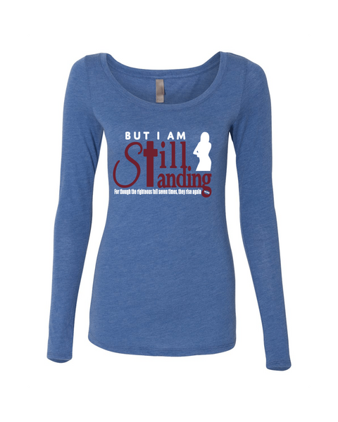 Still Standing Women's Triblend Long Sleeve Scoop Neck - Small / Vintage Royal - Christian T-Shirt | Christian Gifts | Christian Apparel - 6