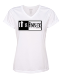 It is Finished Womens V-Neck Performance T-Shirt - Small / White - Christian T-Shirt | Christian Gifts | Christian Apparel - 8