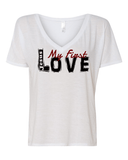 Jesus:  My First Love Ladies' Slouchy V-Neck Christian T-Shirt - S / White - Christian T-Shirt | Christian Gifts | Christian Apparel - 7