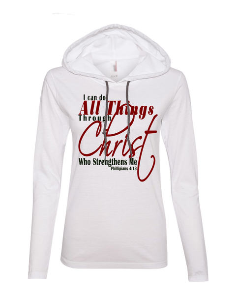 I Can Do All Things Through Christ Womens Lightweight Long-Sleeve Hooded Tee - Small / White - Christian T-Shirt | Christian Gifts | Christian Apparel - 6
