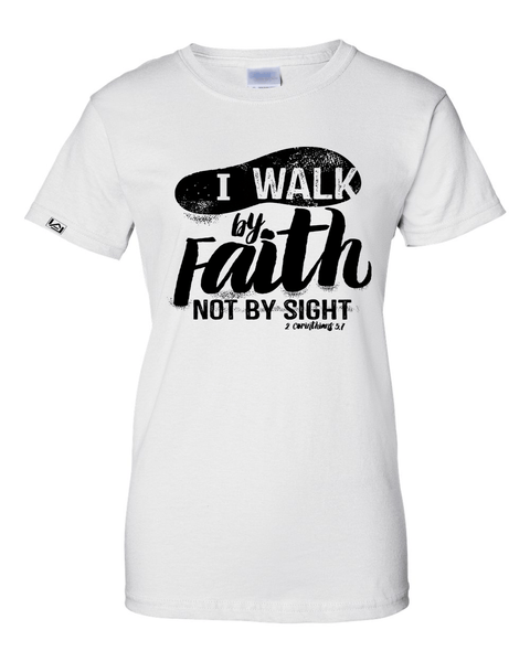 Walk by Faith Women's Classic Fit T-Shirt - Small / White - Christian T-Shirt | Christian Gifts | Christian Apparel - 9