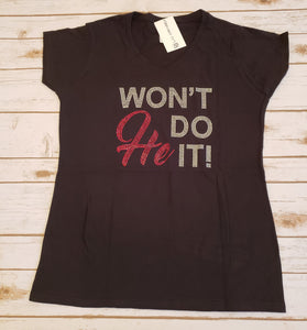 Won't He Do It Rhinestone V-Neck Tee