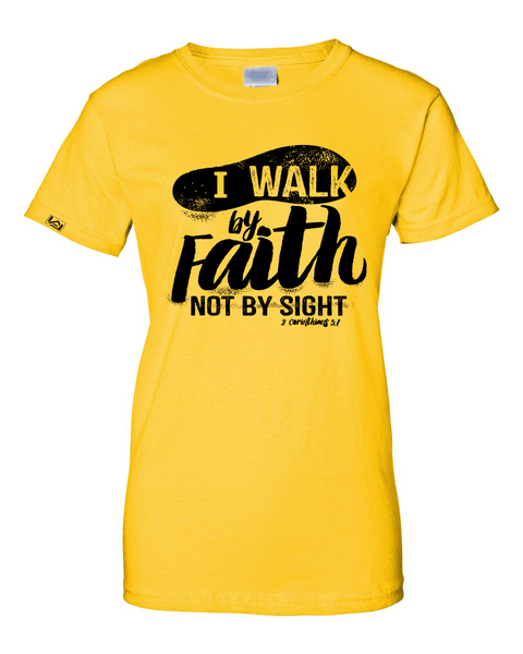 Walk by Faith Women's Classic Fit T-Shirt - Small / Yellow - Christian T-Shirt | Christian Gifts | Christian Apparel - 10