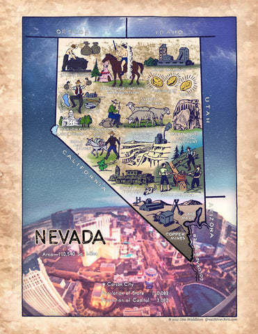 231 Illustrated map Nevada 1950's