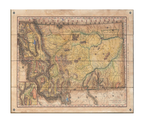 Montana Rail Roads Old Montana map map art on Wood or Metal for Lake House, Man Cave, vintage map art gift, Custom map art