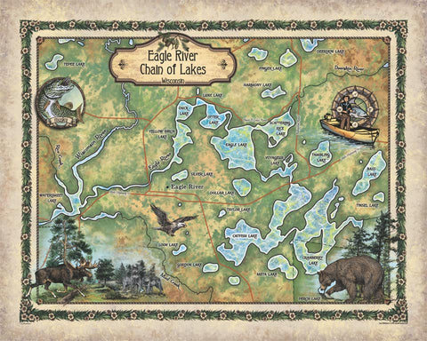 Eagle River Chain of Lakes, Wisconsin Lake Maps