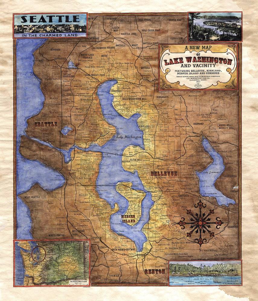 036 Custom map of Lake Washington and Vicinity