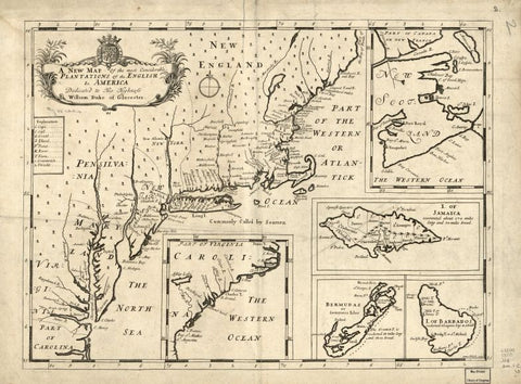 Educational Map Series: Most Considerable Plantations of the English in America 1700