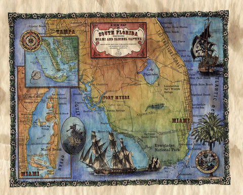 087 New Map of South Florida Custom Designed By Lisa Middleton