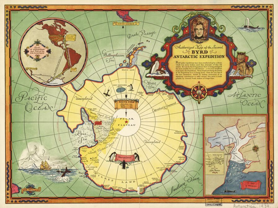 Educational Map Series: Authorized map of the Second Byrd Antarctic Expedition 1934