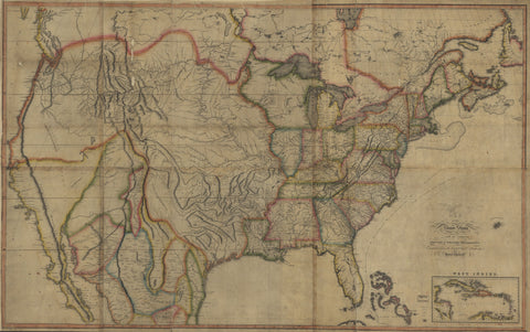 First Transcontinental Map of the United States, 1816