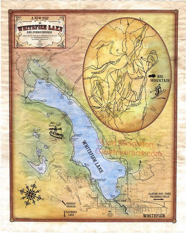 135 Whitefish Lake, Montana Custom map Designed By Lisa Middleton 2014