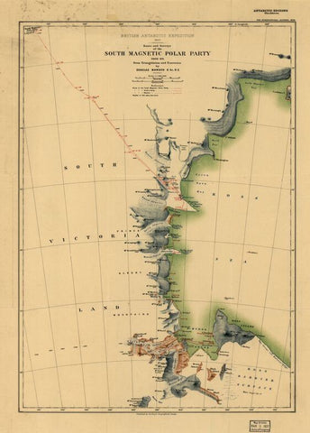 Educational Map Series, Antarctic Exploration: Route and Surveys of  the South Magnetic Polar Party, 1908-09