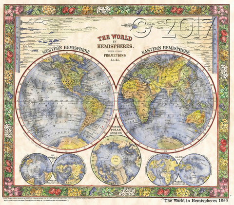 Free Mother's Day Gift through May 2018: The World in Hemispheres 1860 no minimum order