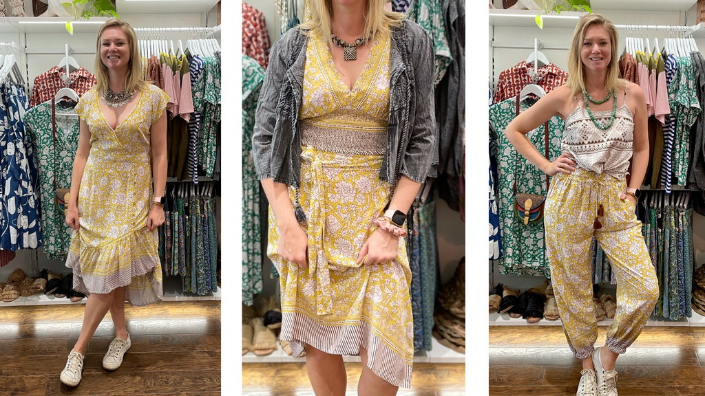 A beautiful blonde model wears 3 different outfits of the Boom Shankar Jesamine print from their Island Time summer collection