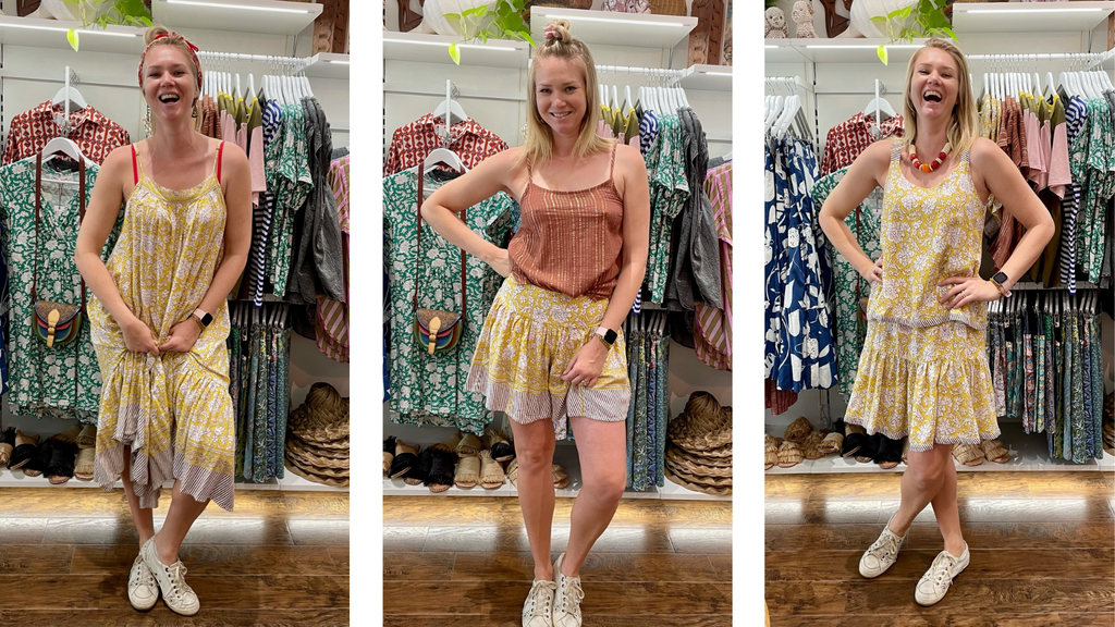A gorgeous blonde model wears three different outfits from the Boom Shankar Island Time summer collection.