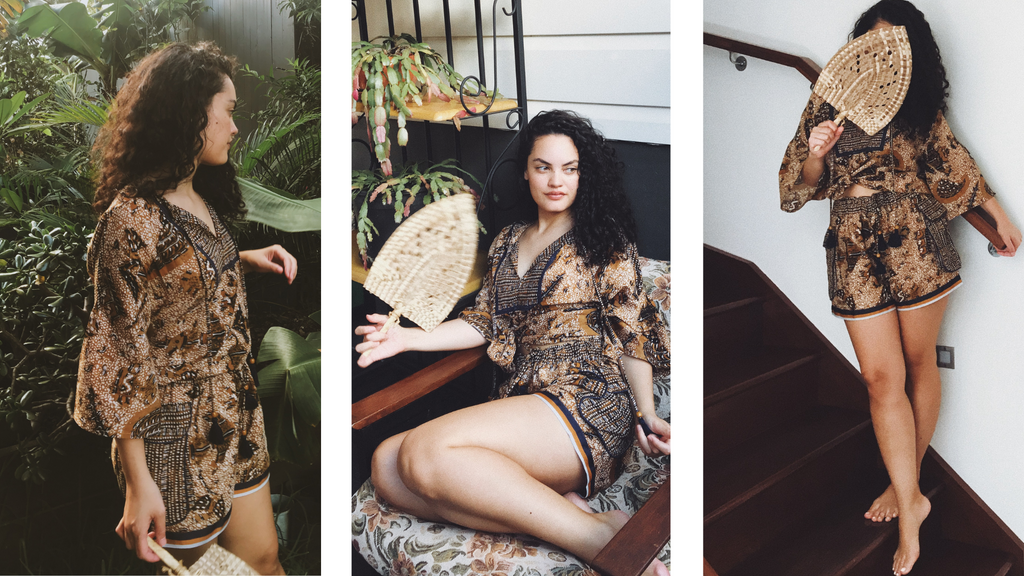 Malianive, a gorgeous Tonganese girl, poses in three different positions wearing a batik inspired matching shorts and top set from the Boom Shankar summer Alofa collection