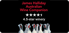 A label with James Halliday and 4 and a half stars