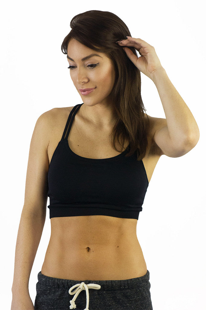 NikiBiki Cross Strap Bra Top Black- ACTIVEWEAR-NIKIBIKI-Free Vibrationz