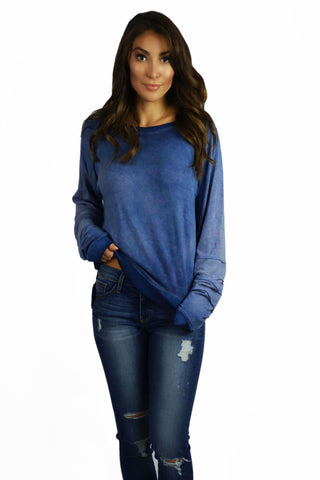 Able USA Ombre Blue Sweater- OUTERWEAR-ABLE USA-Free Vibrationz
