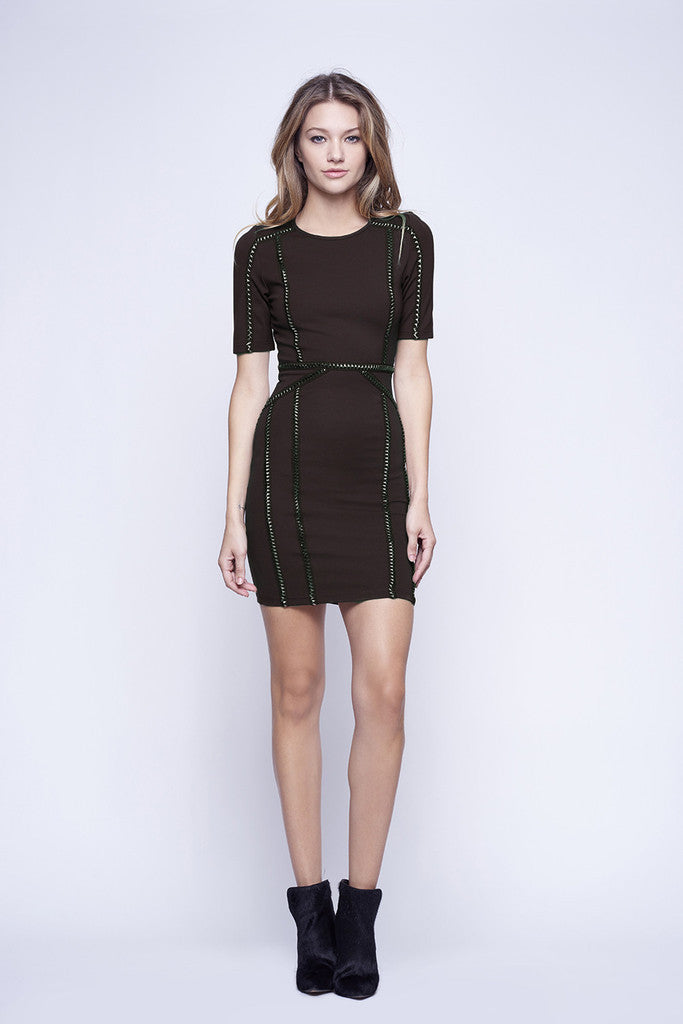 WYLDR Ballin Black Jersey Bodycon Dress With Trim Detail - DRESSES - WYLDR - Free Vibrationz - 2