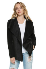 Elan Black on Black Suede Jacket - OUTERWEAR - ELAN - Free Vibrationz