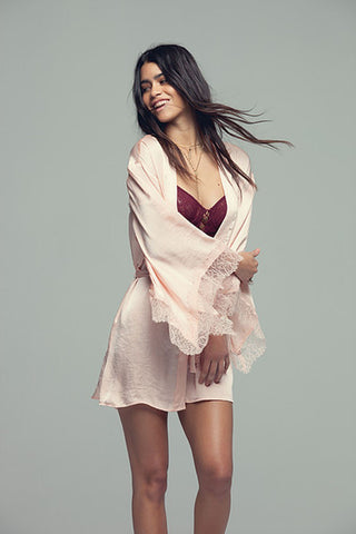 Band Of Gypsies Satin Open Back Kimono Robe Blush- Intimates-BAND OF GYPSIES-Free Vibrationz