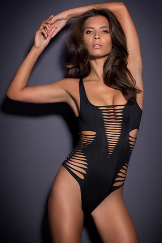 Shredded Up One Piece Black - SWIMWEAR - Free Vibrationz - Free Vibrationz - 1
