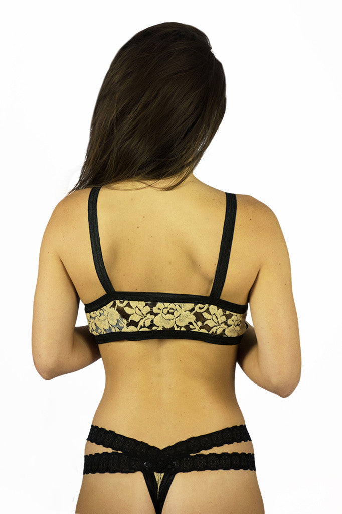 CantiqLA Triangle Cut Out Bralette Black & Tan - Intimates - CANTIQLA - Free Vibrationz - 4