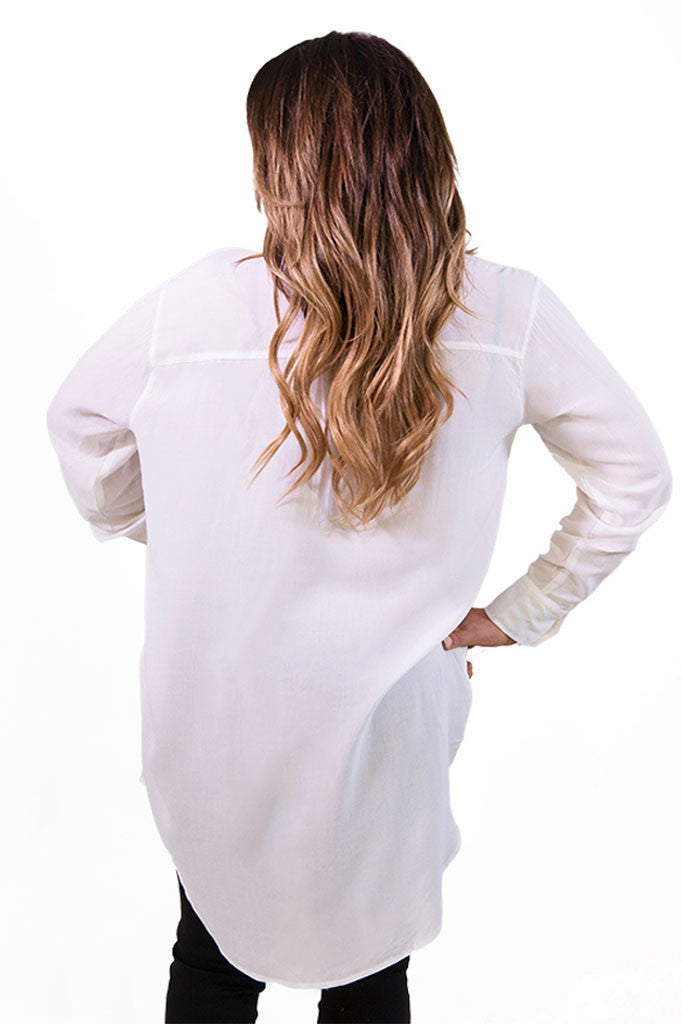 Cecico Boyfriend Shirt Dress - White- TOPS-Cecico-Free Vibrationz