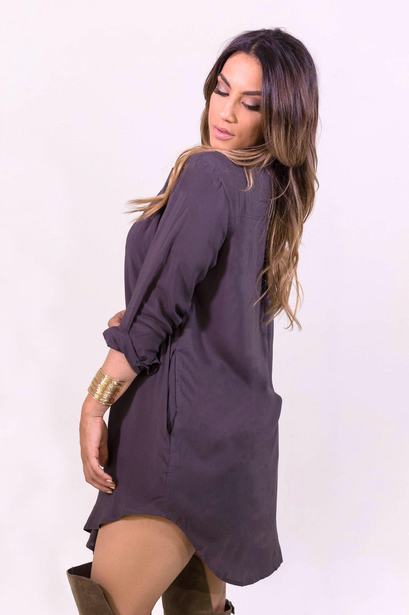 Cecico Boyfriend Shirt Dress - Eggplant- DRESSES-Free Vibrationz-Free Vibrationz