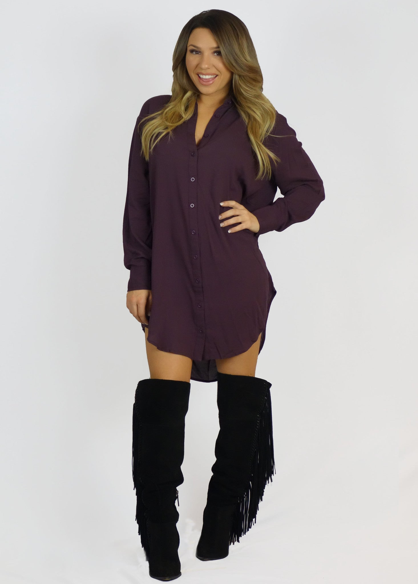 Cecico Boyfriend Shirt Dress Charcoal- TOPS-Cecico-Free Vibrationz