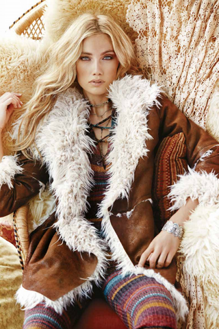 Elan Falling For You Brown Suede Fur Jacket - OUTERWEAR - ELAN - Free Vibrationz