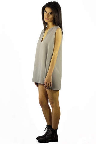 EastNWest Label Chain Top Dress Grey- TOPS-EASTNWESTLABEL-Free Vibrationz
