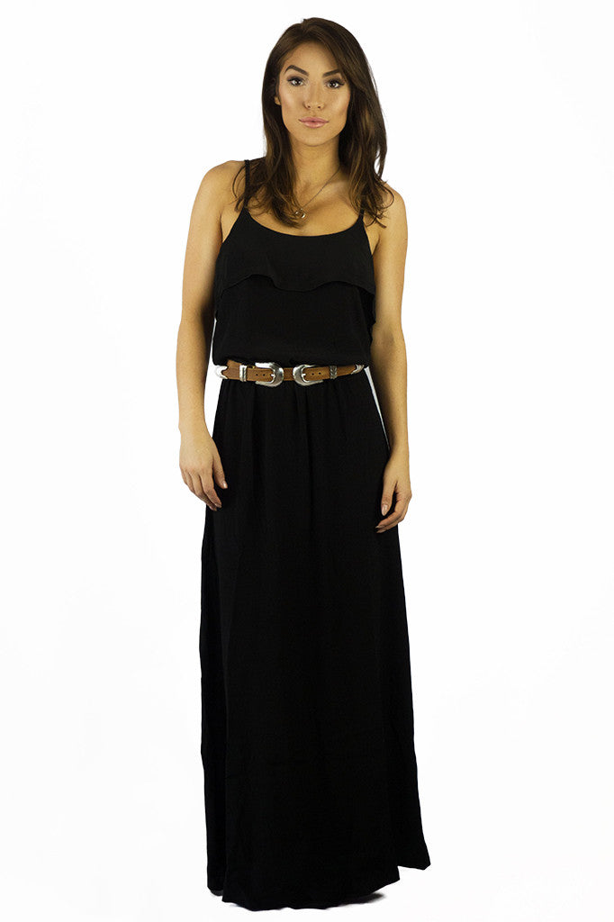 Elan Brunch Maxi Dress Black- DRESSES-ELAN-Free Vibrationz