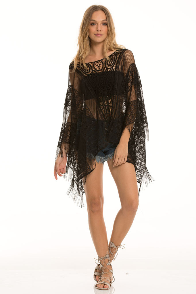 Elan Gypsy Days Black Fringe Cover Up- SWIMWEAR-ELAN-Free Vibrationz