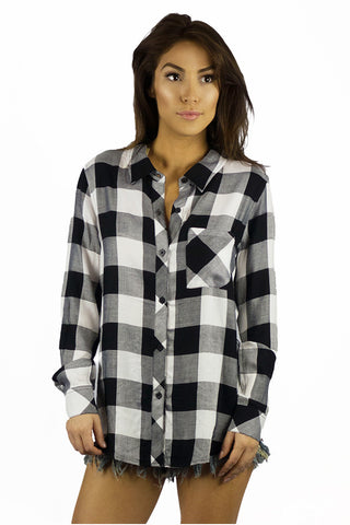 Elan Checkered Flannel Black and White- TOPS-ELAN-Free Vibrationz
