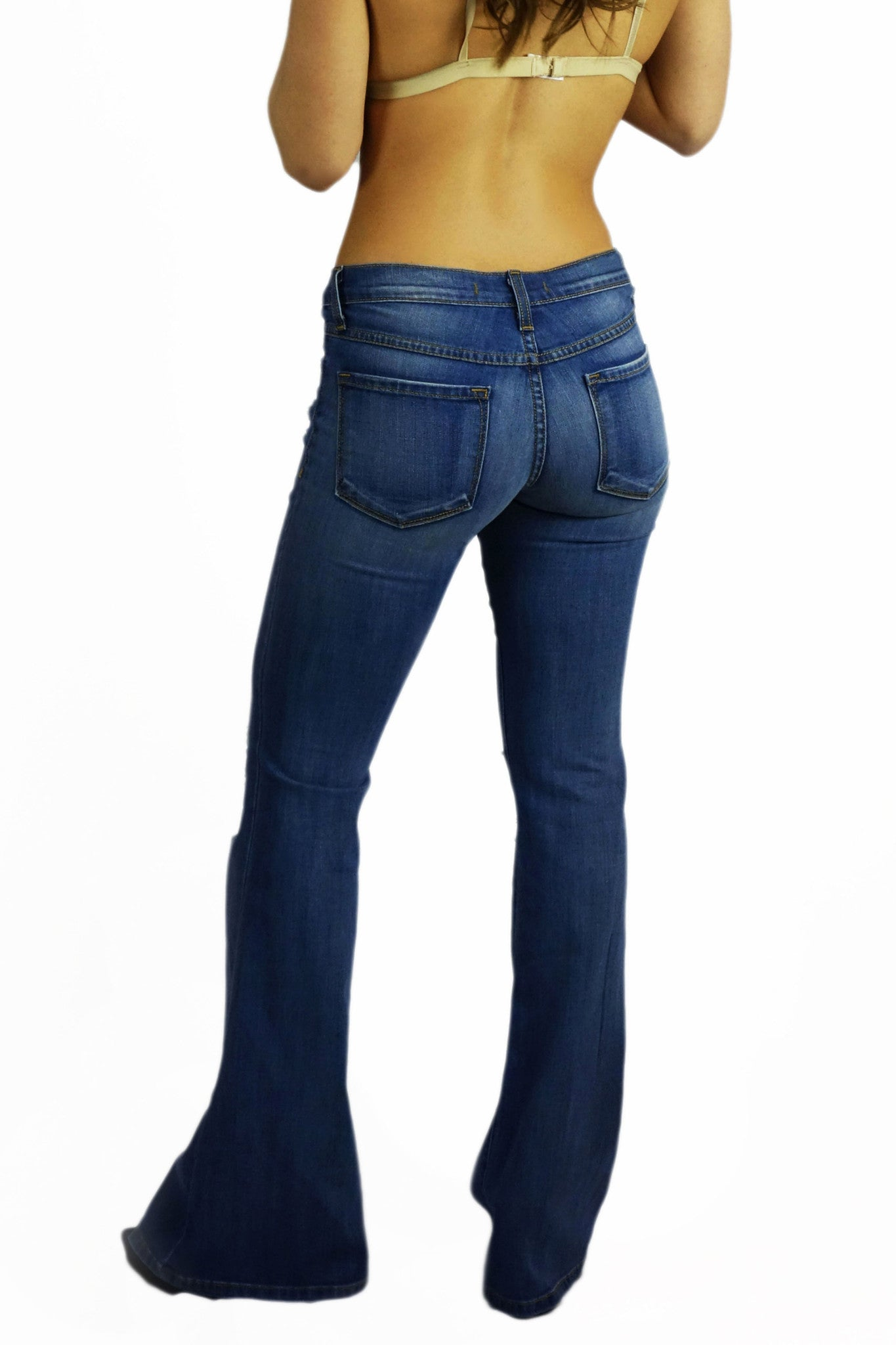 Flying Monkey Made In The 60s Flare Jeans- BOTTOMS-FLYING MONKEY-Free Vibrationz