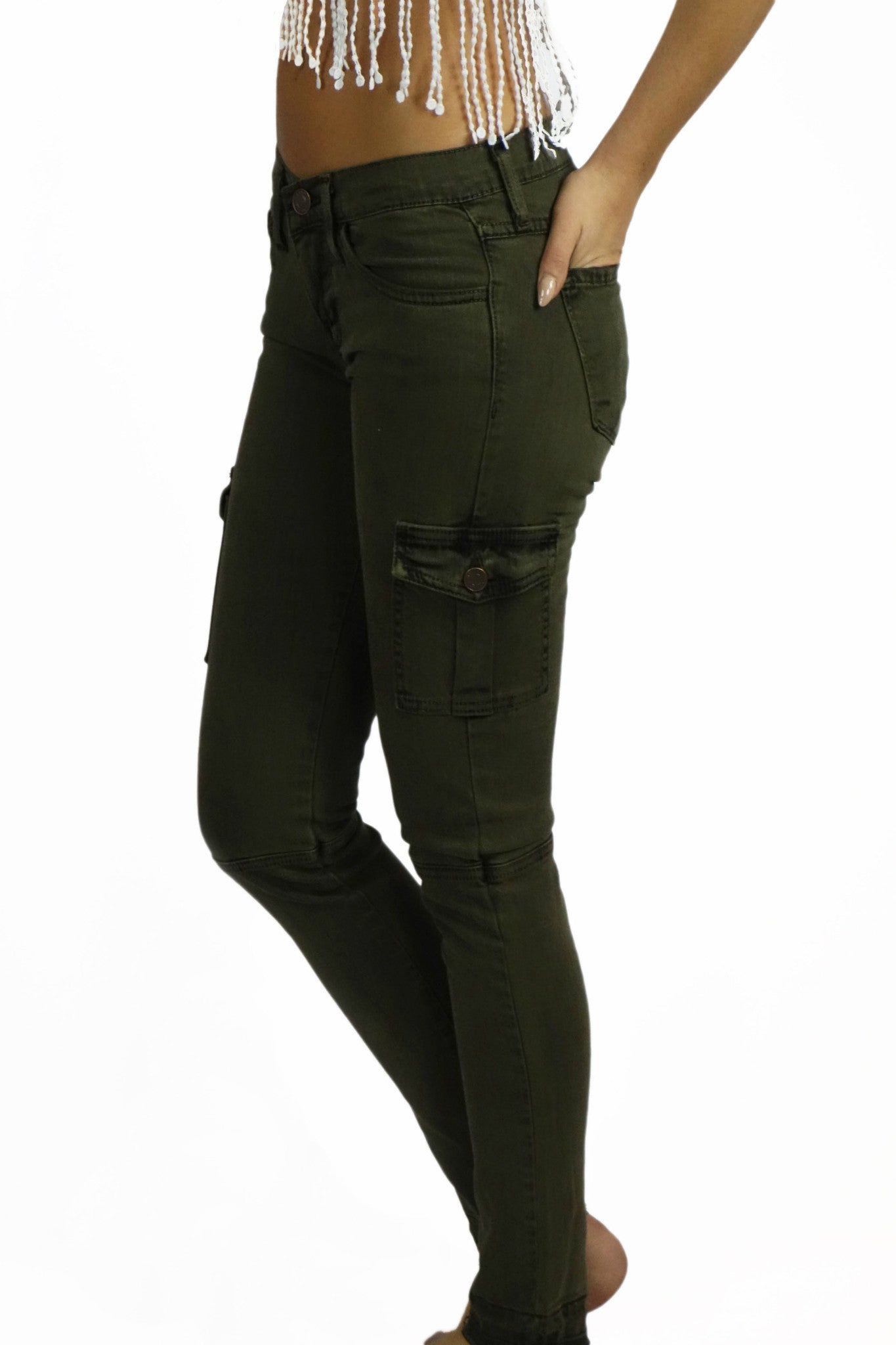 Flying Monkey Olive Cargo Denim Pants- BOTTOMS-FLYING MONKEY-Free Vibrationz