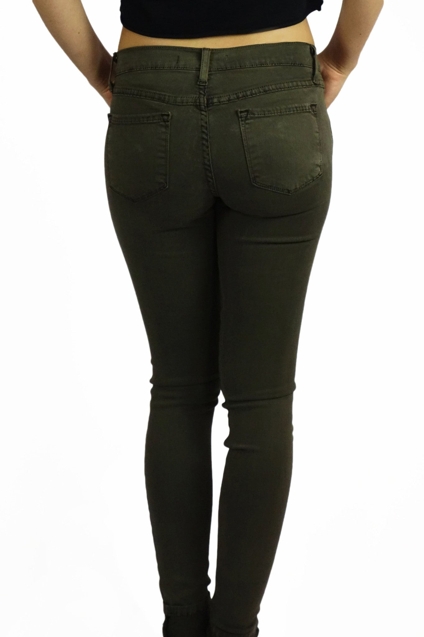 Flying Monkey Vintage Dyed Cuffed Skinny Jeans - Army Green- BOTTOMS-FLYING MONKEY-Free Vibrationz