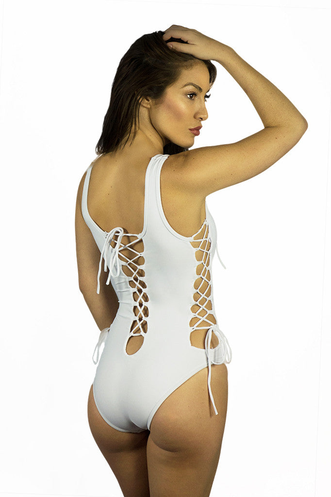 Rocky Barnes White Lace Up One Piece - SWIMWEAR - Free Vibrationz - Free Vibrationz - 3