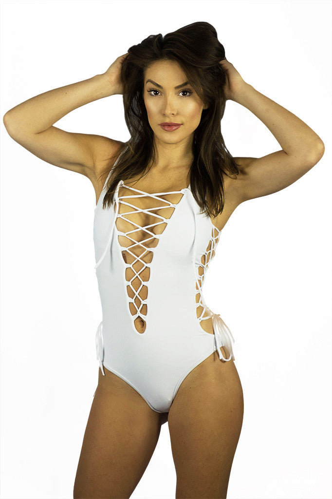 Rocky Barnes White Lace Up One Piece - SWIMWEAR - Free Vibrationz - Free Vibrationz - 4