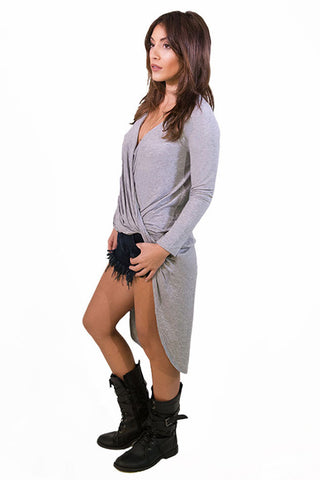 Funk Wrap Top Grey- TOPS-Free Vibrationz-Free Vibrationz