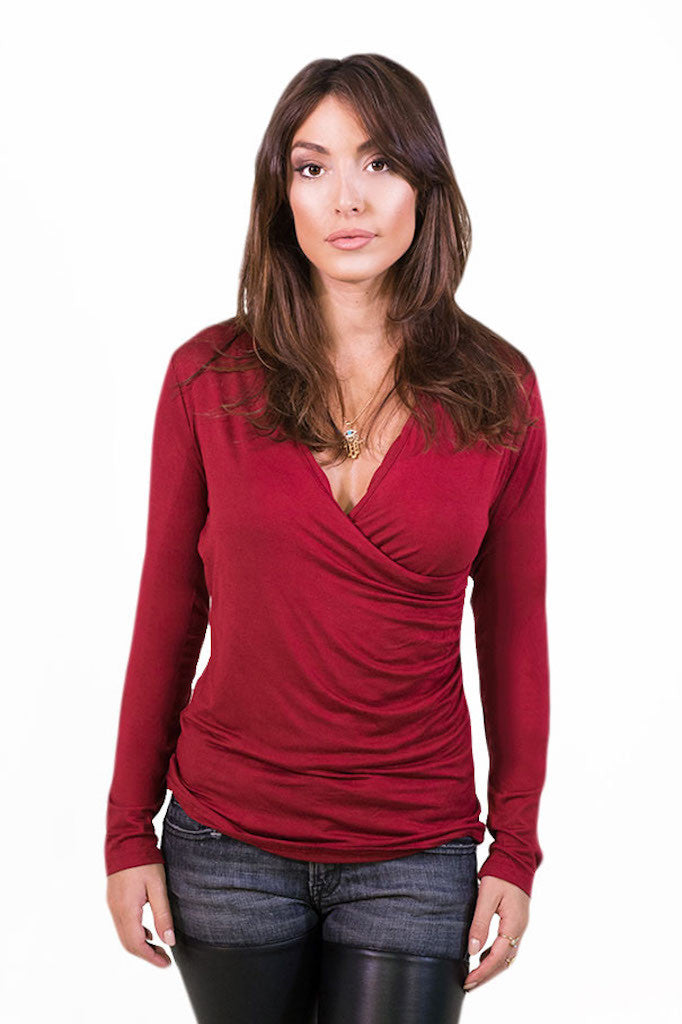 Plunging Longsleeve Top Red - TOPS - Free Vibrationz - Free Vibrationz - 2