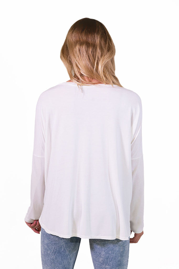 London White Long Sleeve Top- TOPS-POL-Free Vibrationz