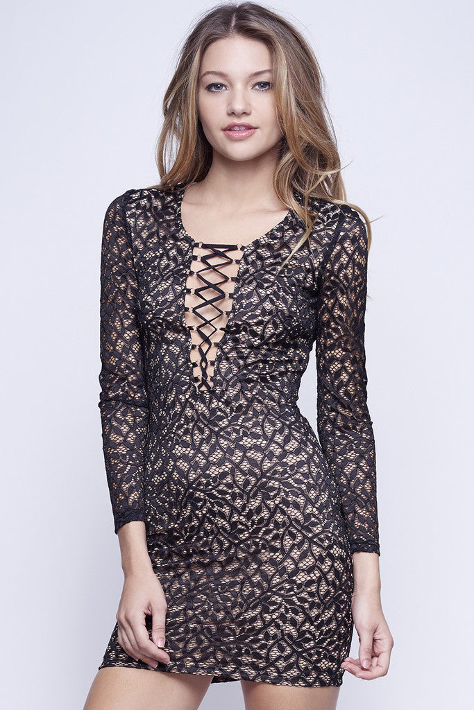 WYLDR In Too Deep Lace Black Body Con Dress - DRESSES - WYLDR - Free Vibrationz - 2